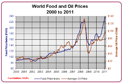 World Food  Oil Prices 2001 - 2011